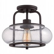 Trilogy Small Semi-Flush Fitting in Old Bronze with Clear Seedy Glass - QUOIZEL QZ/TRILOGY/SF/S